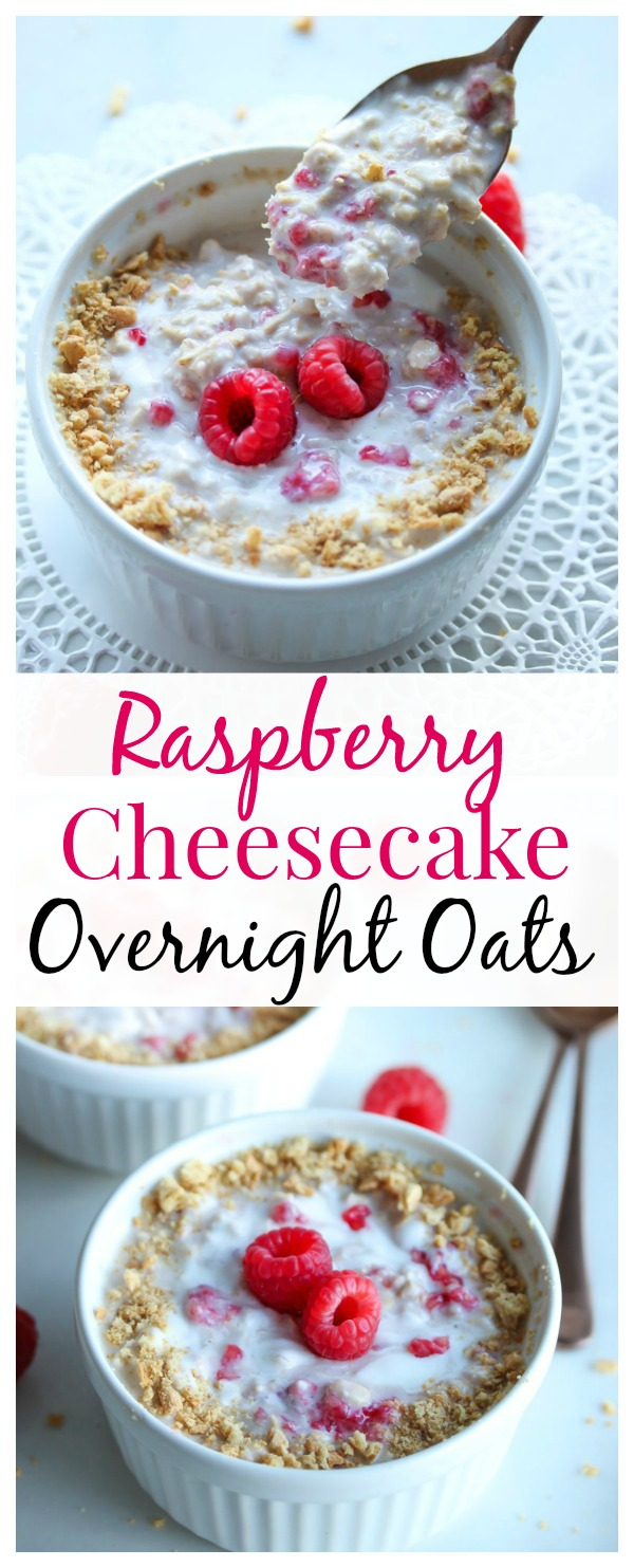 A decadent dessert turned into a nutritious breakfast. Raspberry cheesecake overnight oats are made with protein and fiber-rich ingredients for the ultimate breakfast treat.