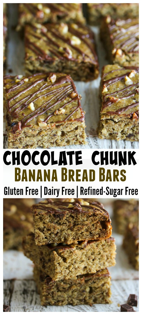 Chocolate Chunk Banana Bread Bars; gluten free, dairy free and refined-sugar free. Perfect for weekday breakfasts or nutritious snacks! | dishingouthealth.com