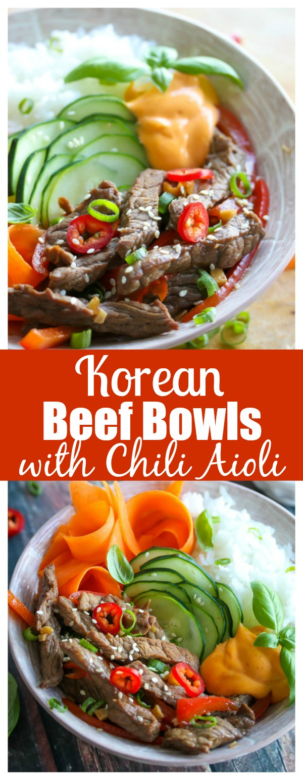 Korean Beef Bowls with Chili Aioli - flavor-loaded, simple and easily adaptable! | dishingouthealth.com