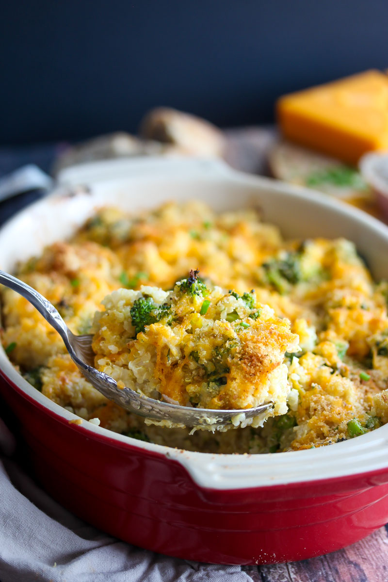Cheesy Chicken and Broccoli Quinoa Bake | dishingouthealth.com