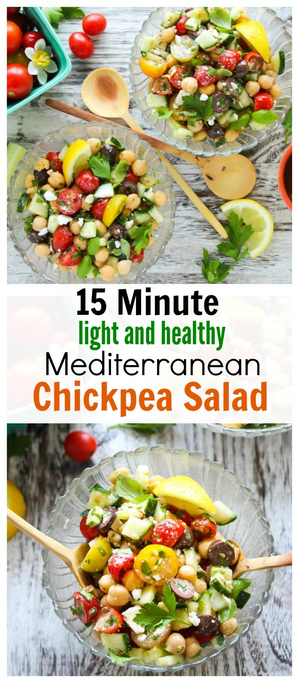 15 Minute Mediterranean Chickpea Salad; an easy, no-fuss salad that is light, healthy and plant-powered. Also gluten free and kid-friendly! | dishingouthealth.com