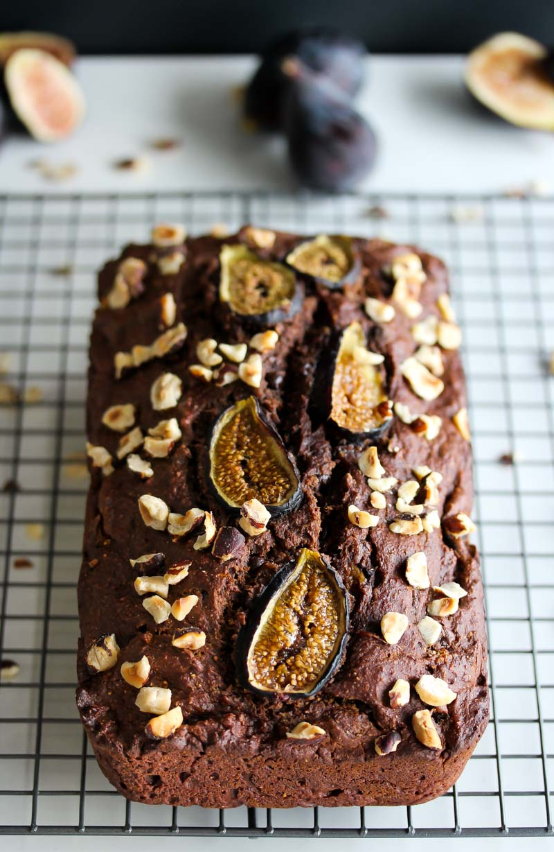 Whole Wheat Chocolate Almond Butter Fig Bread | dishingouthealth.com