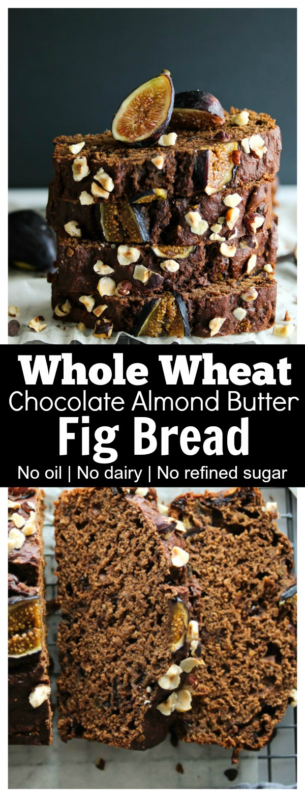 Whole Wheat Chocolate Almond Butter Fig Bread; No oil, dairy or refined sugar. A wholesome treat your whole family will enjoy! | dishingouthealth.com