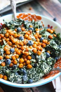Blueberry Kale Caesar Salad with Smoky Chickpeas (Vegan)