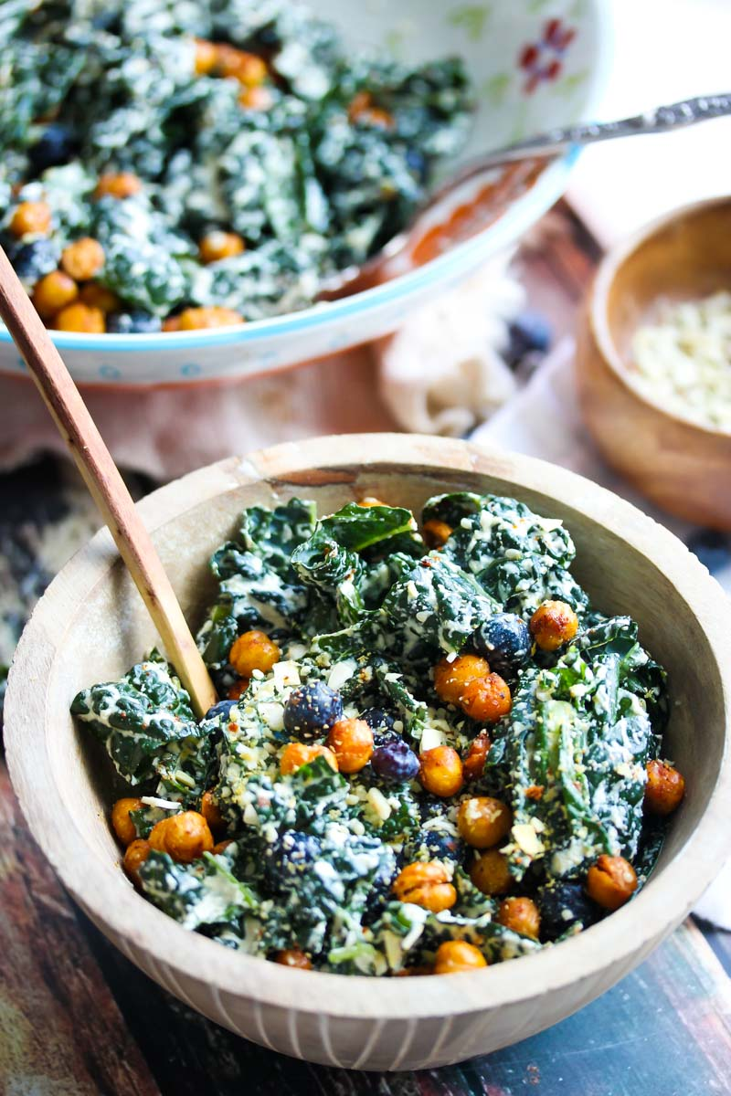 Blueberry Kale Caesar Salad with Smoky Chickpeas (Vegan) | Dishing Out ...