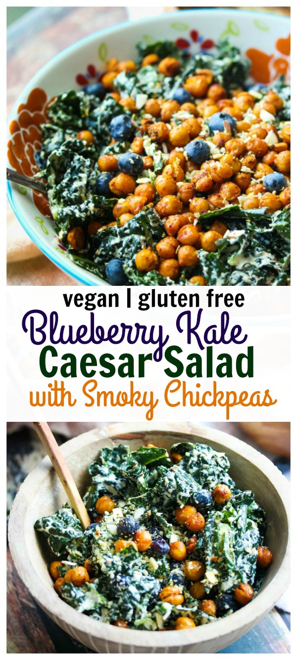 Vegan Blueberry Kale Caesar Salad with Smoky Chickpeas; Made with wholesome ingredients and an incredibly delicious creamy caesar dressing you would never believe was vegan | dishingouthealth.com