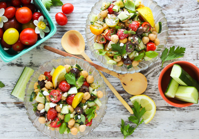 15 Minute Mediterranean Chickpea Salad | dishingouthealth.com