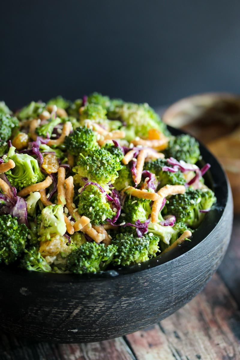 Miso Broccoli Salad | dishingouthealth.com