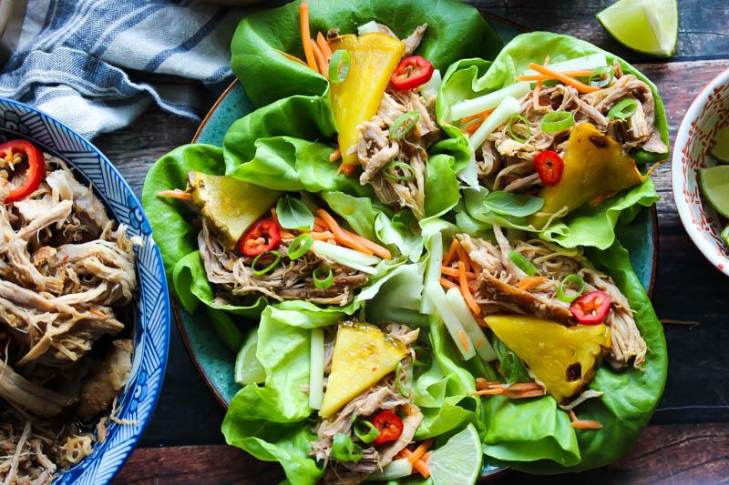 Slow Cooker Thai Pork Lettuce Wraps | dishingouthealth.com