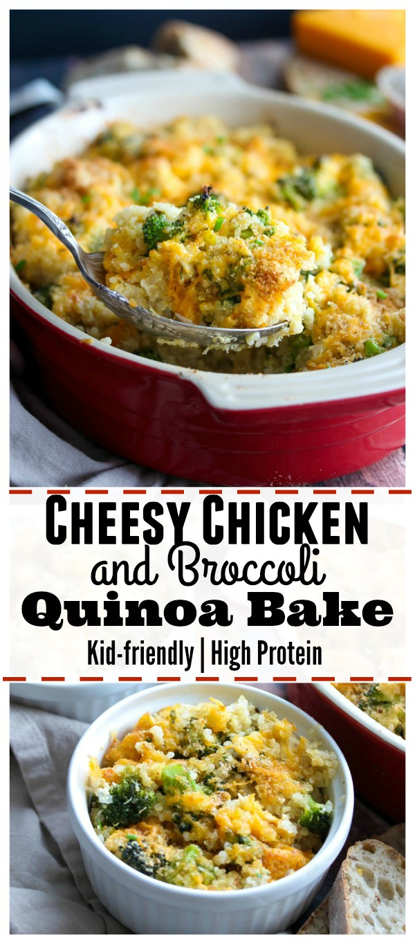 Cheesy Chicken and Broccoli Quinoa Bake; a high protein, kid-friendly meal that is equally nutritious as it is delicious. | dishingouthealth.com