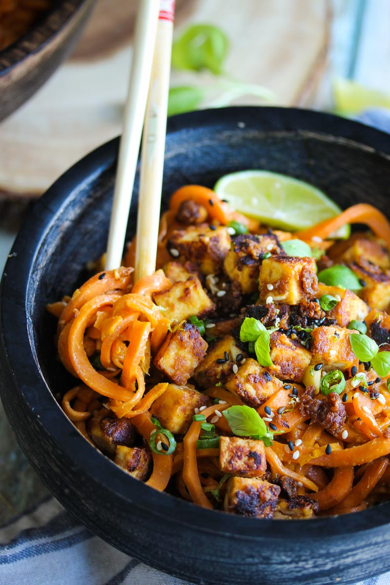 Sesame Cashew Tofu with Sweet Potato Noodles | dishingouthealth.com