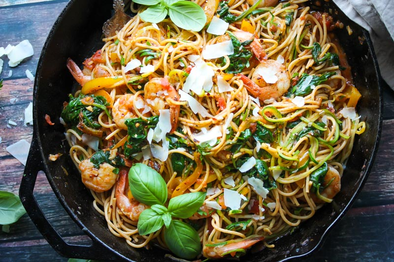 30 Minute Shrimp Pasta Primavera with Zoodles | dishingouthealth.com