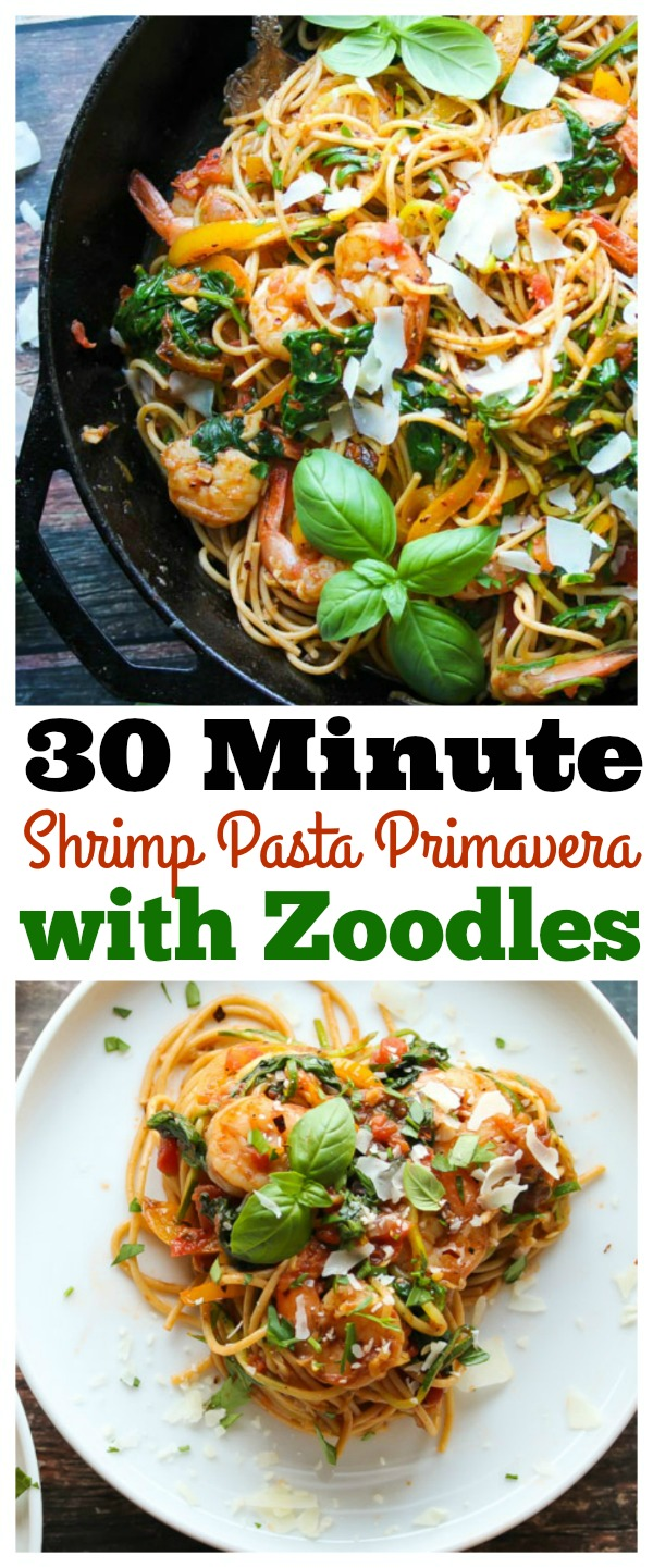 30 Minute Shrimp Pasta Primavera with Zoodles; a simple, healthy weeknight dinner your whole family will love! | dishingouthealth.com