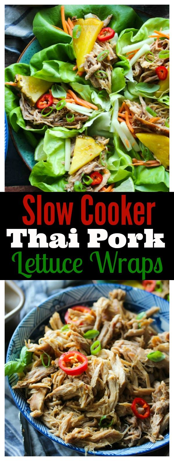 Slow Cooker Thai Pork Lettuce Wraps; an easy, no-fuss meal that's light on calories, yet full on flavor | dishingouthealth.com