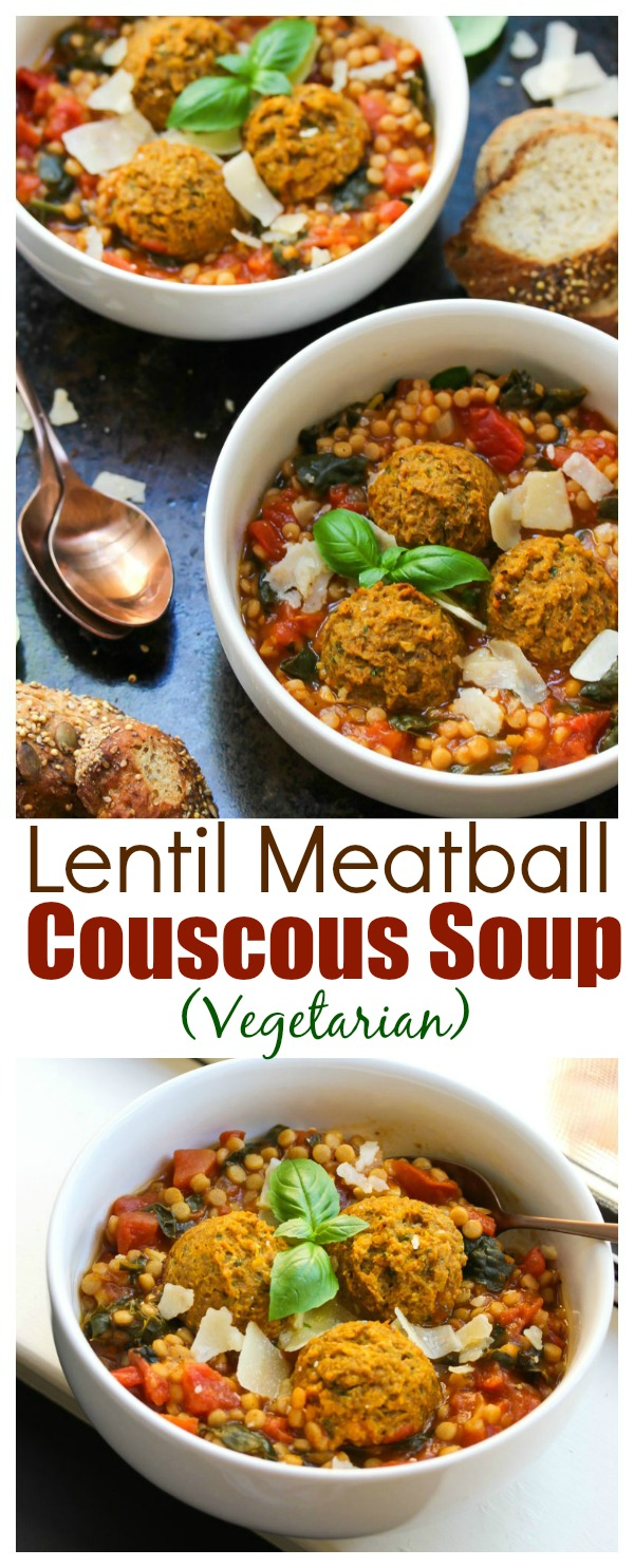 Lentil Meatball Couscous Soup; Vegetarian, hearty and nutritious | dishingouthealth.com