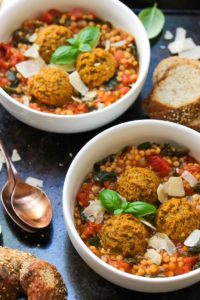 Lentil Meatball Couscous Soup (Vegetarian) | dishingouthealth.com