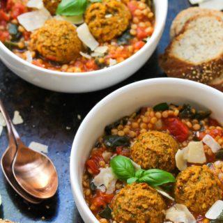 Lentil Meatball Couscous Soup (Vegetarian)