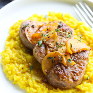 Cider Glazed Pork Medallions with Turmeric Risotto