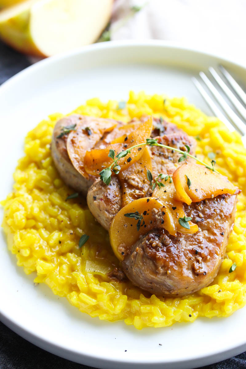 Cider Glazed Pork Medallions with Turmeric Risotto | dishingouthealth.com