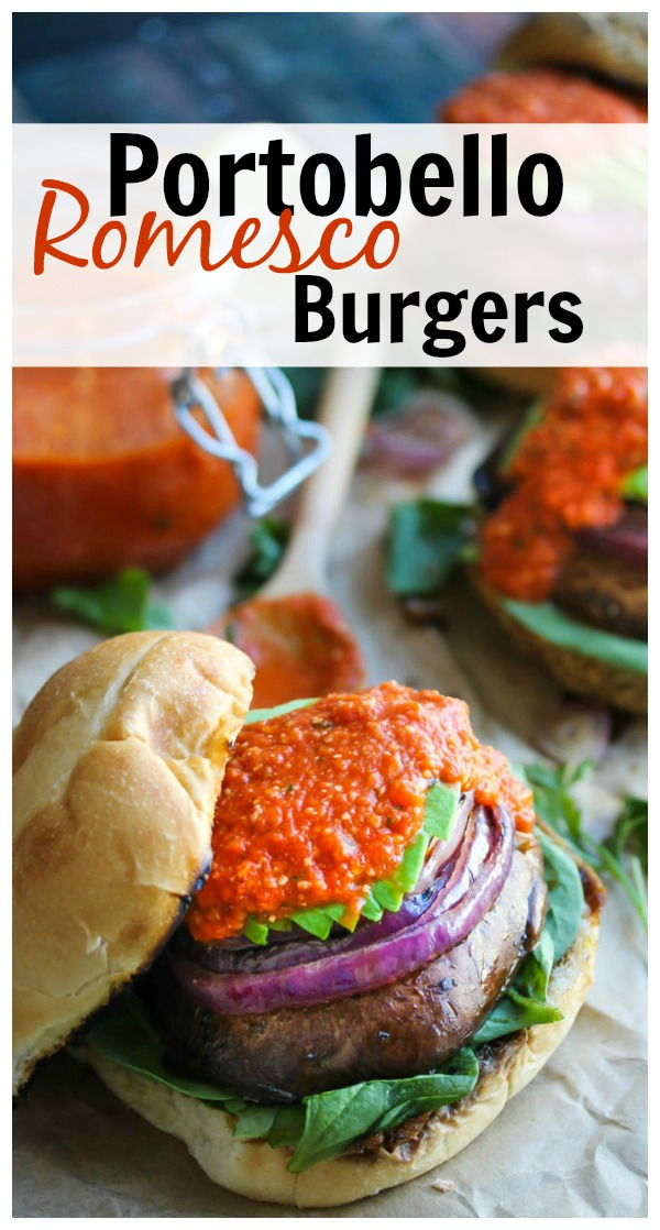 Portobello Romesco Burgers; a healthy, vegetarian classic with a Spanish twist. Even the biggest of carnivores in your life will love these meatless delights! | dishingouthealth.com