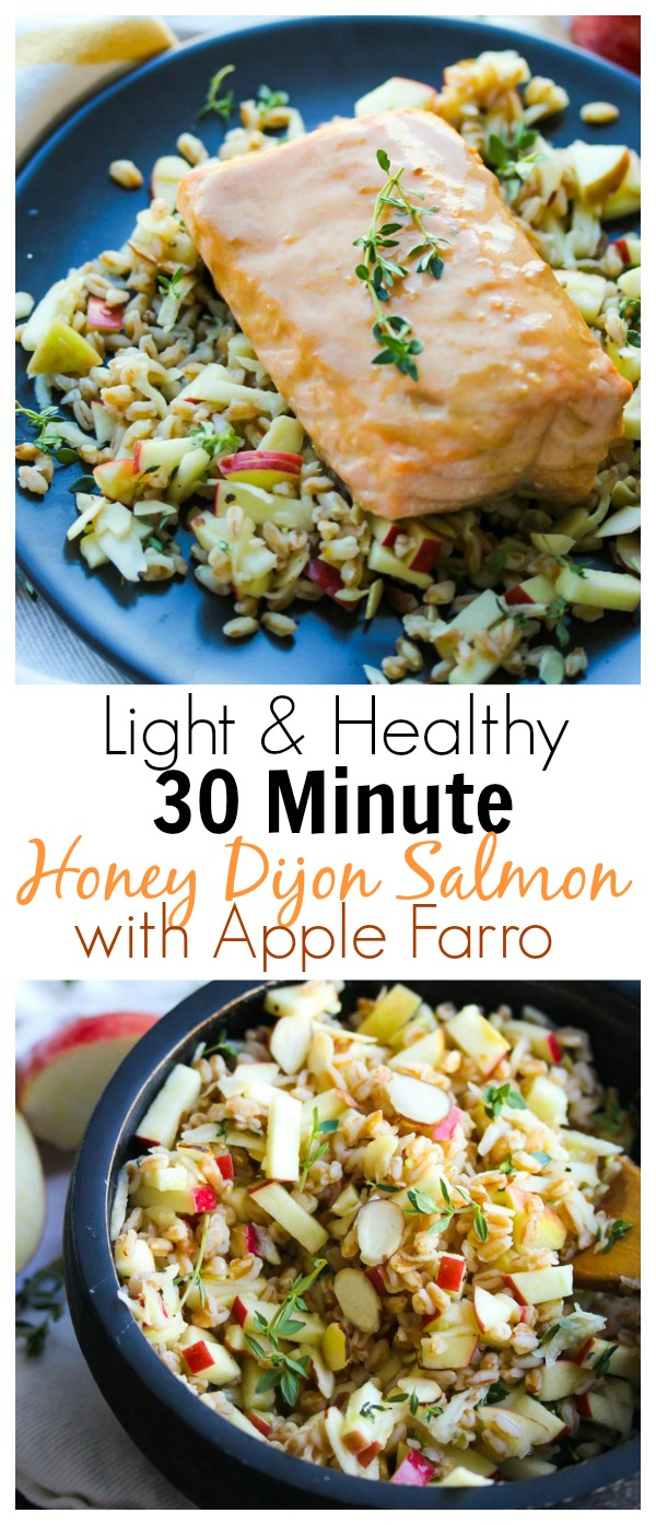 30 Minute Honey Dijon Salmon with Apple Farro; A light and simple meal that is rich in protein, heart-healthy fats and fiber. Perfect for weeknight meals! | dishingouthealth.com