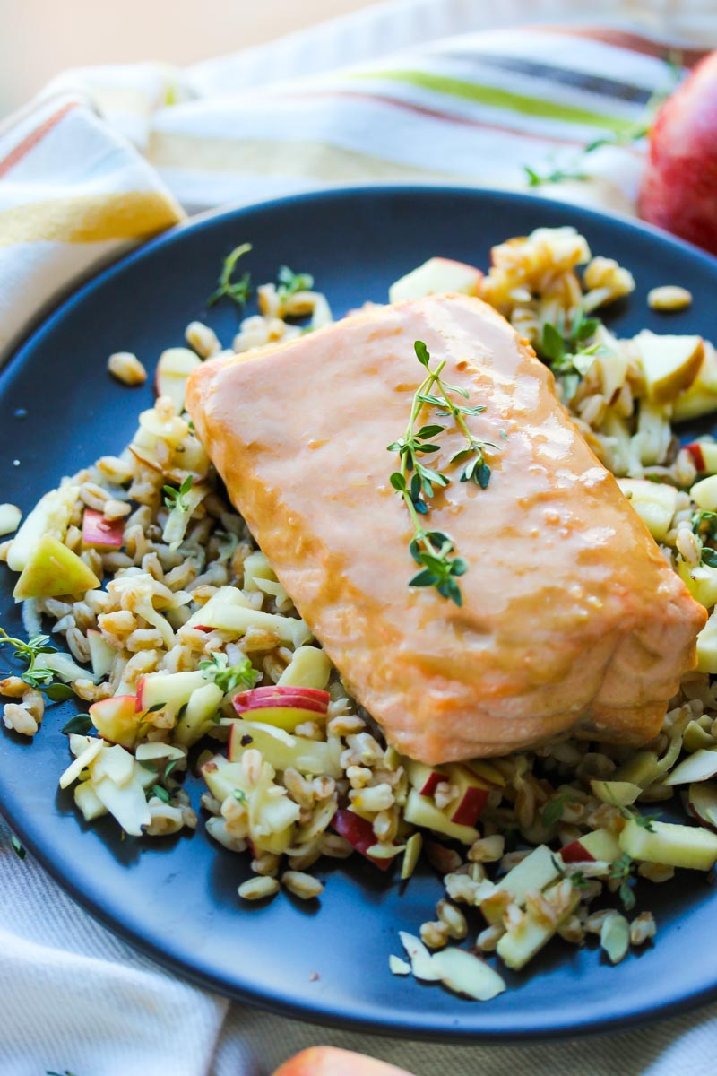 30 Minute Honey Dijon Salmon with Apple Farro