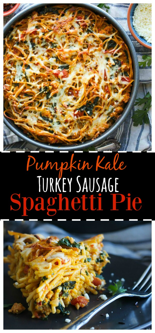 Pumpkin Kale Turkey Sausage Spaghetti Pie; a family-favorite that is both waistline and budget friendly! | dishingouthealth.com