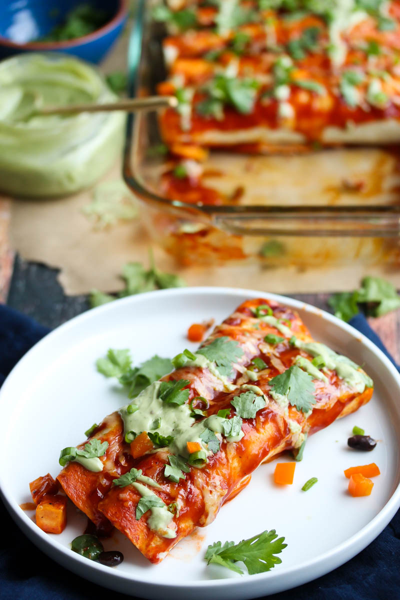 Turkey and Sweet Potato Enchiladas with Avocado Cream