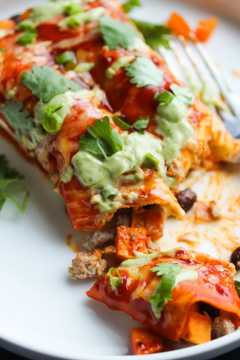 Turkey and Sweet Potato Enchiladas with Avocado Cream
