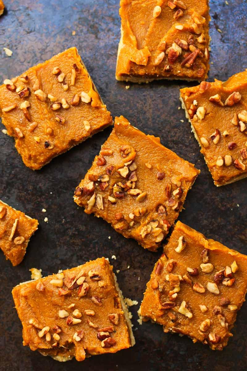 Raw Pumpkin Pie Bars (gluten free, vegan-friendly)   dishingouthealth.com