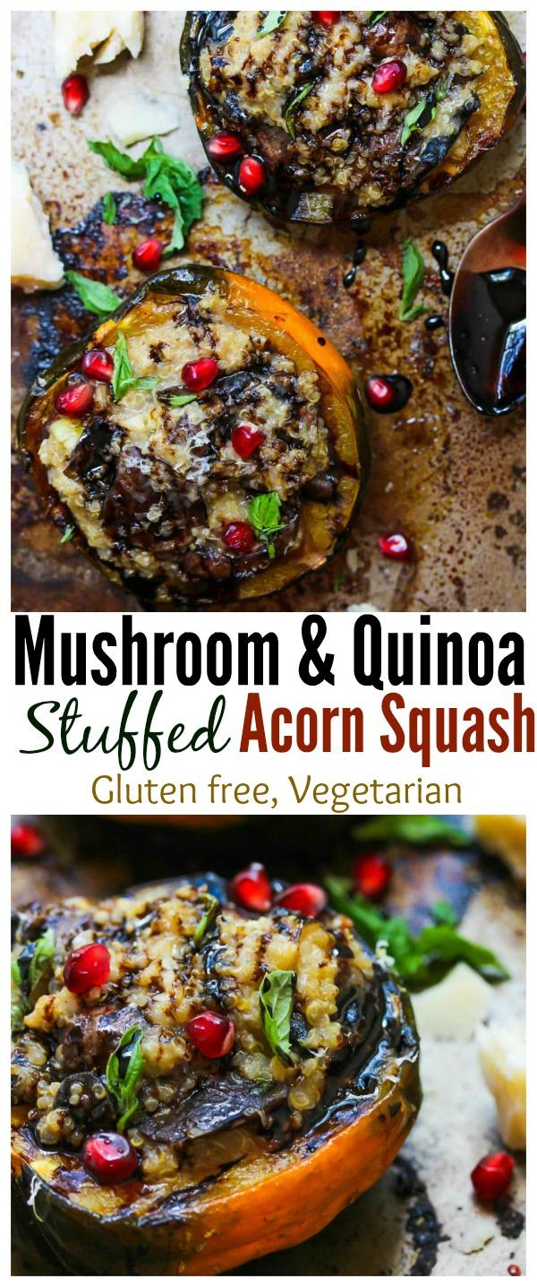 Mushroom and Quinoa Stuffed Acorn Squash; gluten free, vegetarian | dishingouthealth.com