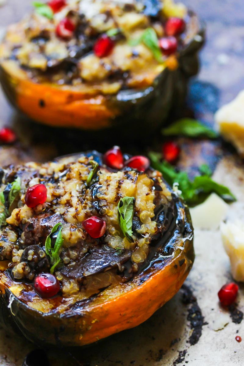 Mushroom and Quinoa Stuffed Acorn Squash | dishingouthealth.com