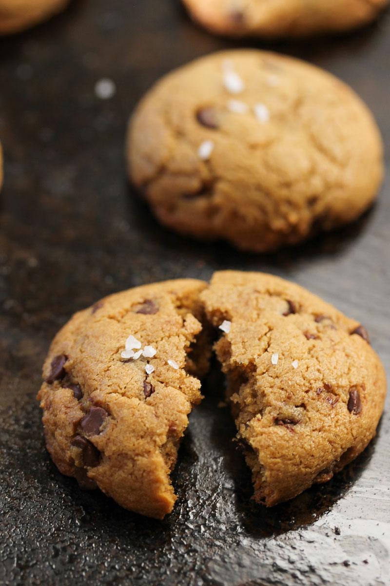 Whole Wheat Chocolate Chip Tahini Cookies
