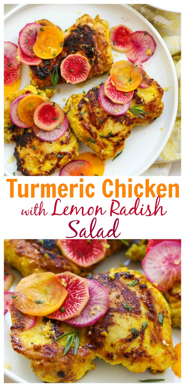 Turmeric Chicken with Lemon Radish Salad; A deliciously healthy, gluten free, protein-rich entree. | dishingouthealth.com