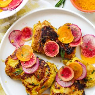 Turmeric Chicken with Lemon Radish Salad