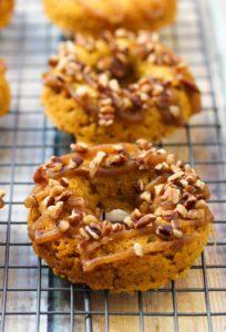 Vegan Sweet Potato Pecan Pie Donuts | dishingouthealth.com