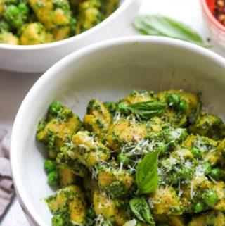Whole Wheat Butternut Gnocchi with Pea Pesto | dishingouthealth.com