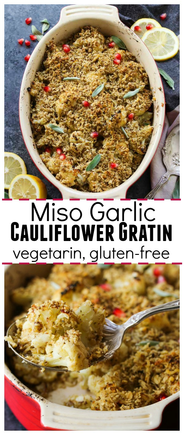 Miso Garlic Cauliflower Gratin (gluten free, vegetarian) | dishingouthealth.com
