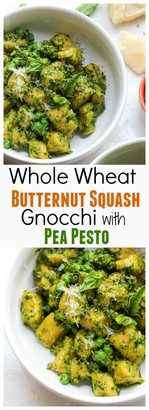 Healthy, Whole Wheat Butternut Squash Gnocchi with Pea Pesto | dishingouthealth.com