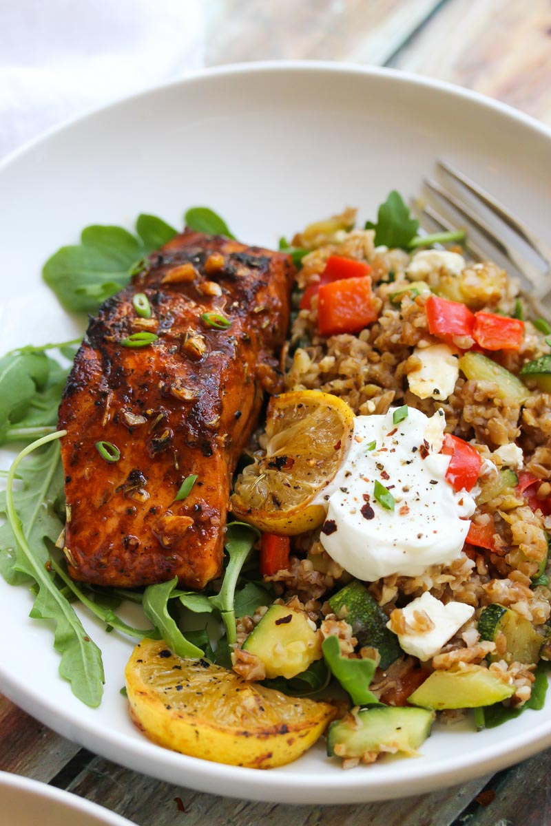 Mediterranean Salmon Bulgur Bowls | dishingouthealth.com