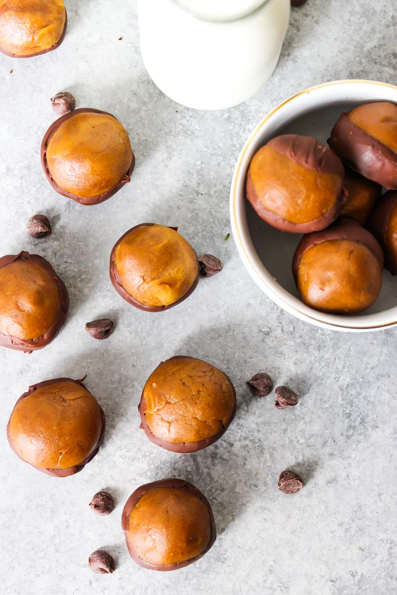 Chickpea Gingerbread Buckeyes (gluten free, vegan-friendly) | dishingouthealth.com