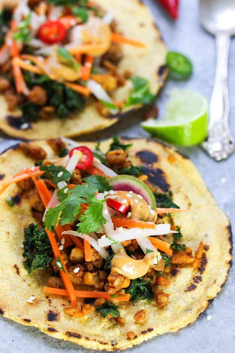 Peanut Tempeh Tacos with Carrot-Daikon Slaw | dishingouthealth.com