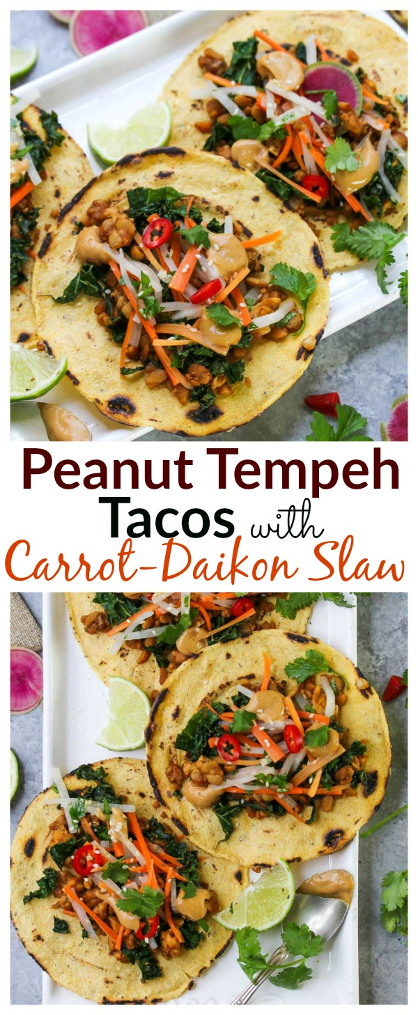 Peanut Tempeh Tacos with Carrot-Daikon Slaw (vegan, gluten free) | dishingouthealth.com
