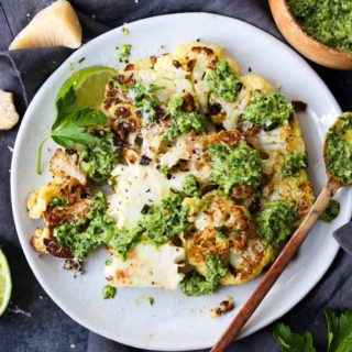 Roasted Cauliflower Steaks with Hemp Chimichurri