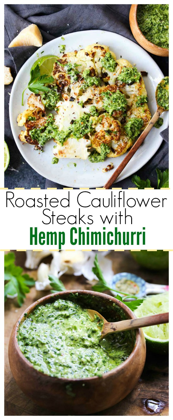 Roasted Cauliflower Steaks with Hemp Chimichurri (vegan-friendly, gluten free) | dishingouthealth.com