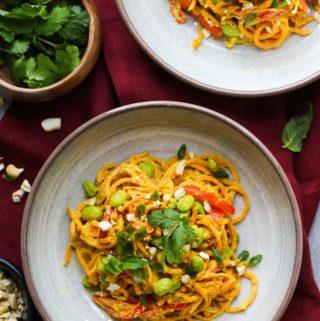 Vegan Curried Sweet Potato Noodle Bowls | dishingouthealth.com