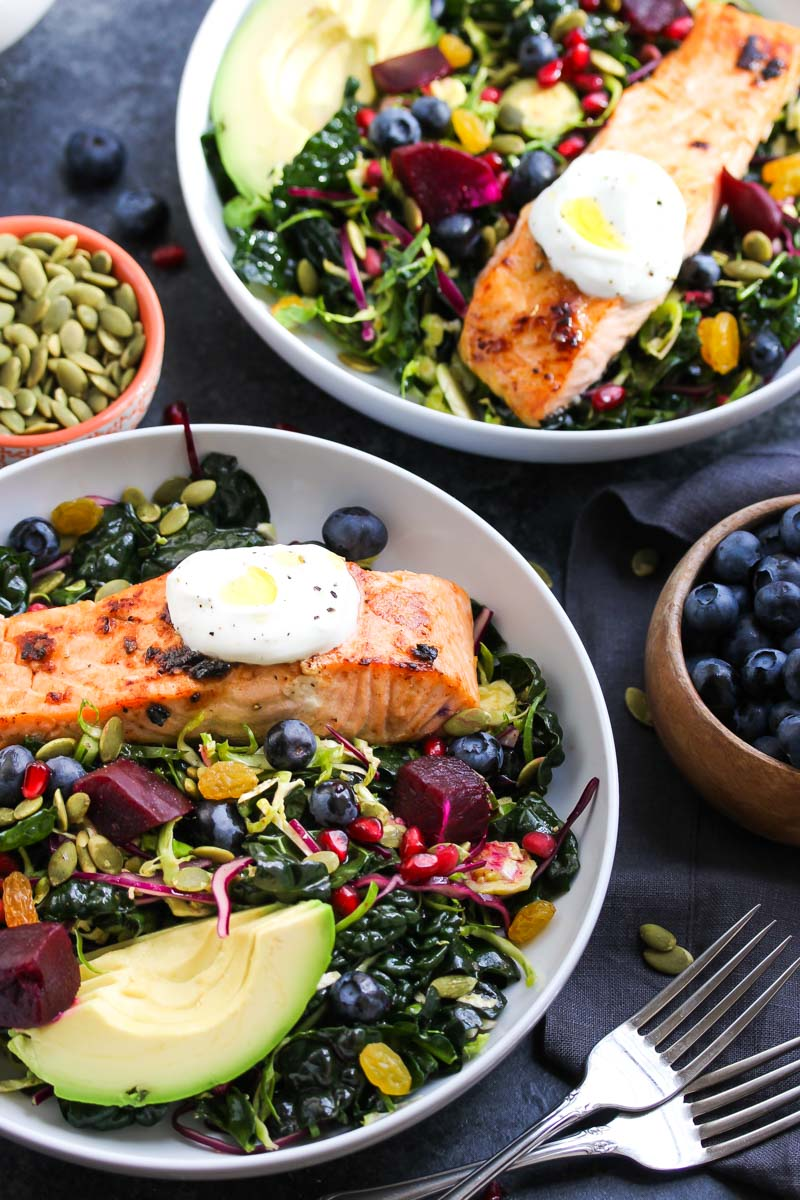 Salmon Superfood Salad | dishingouthealth.com