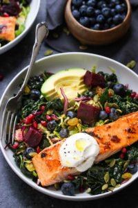 Salmon Superfood Salad | dishingouthealth.com