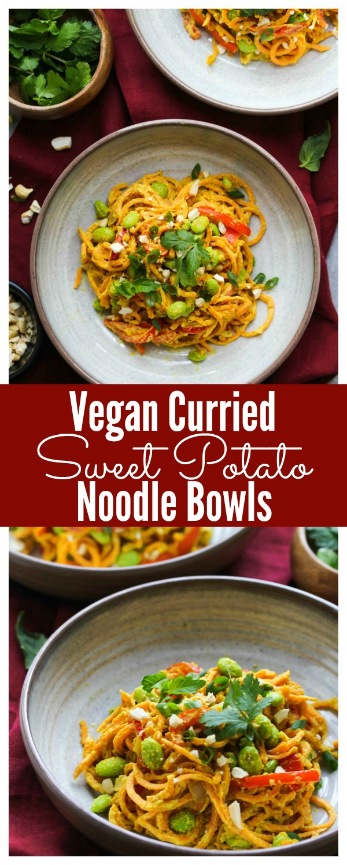 Vegan Curried Sweet Potato Noodle Bowls (gluten free)   dishingouthealth.com