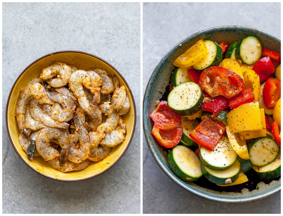 Marinated shrimp and veggies in bowls